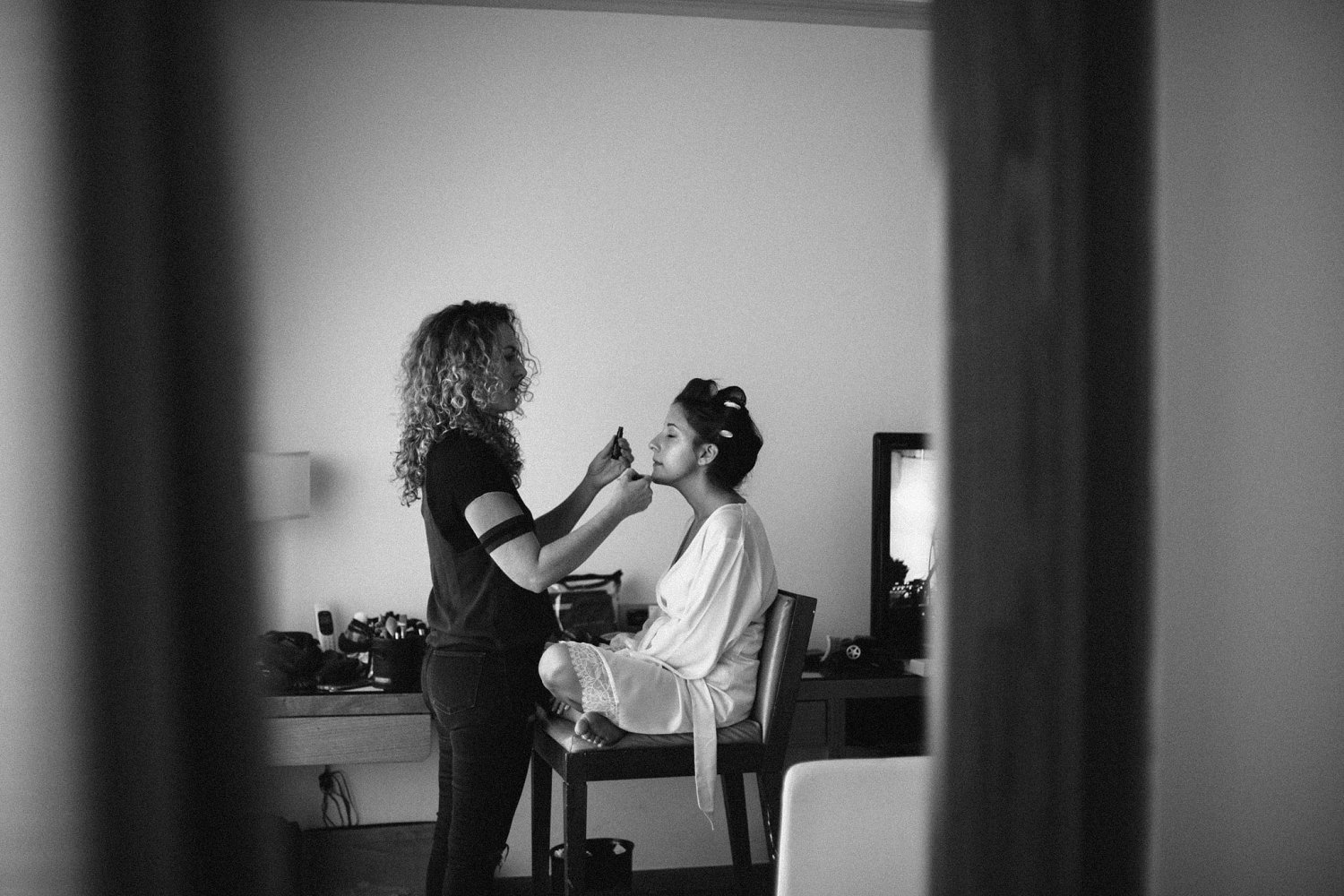 Bride getting her make-up done at the David InterContinental Hotel in Tel Aviv