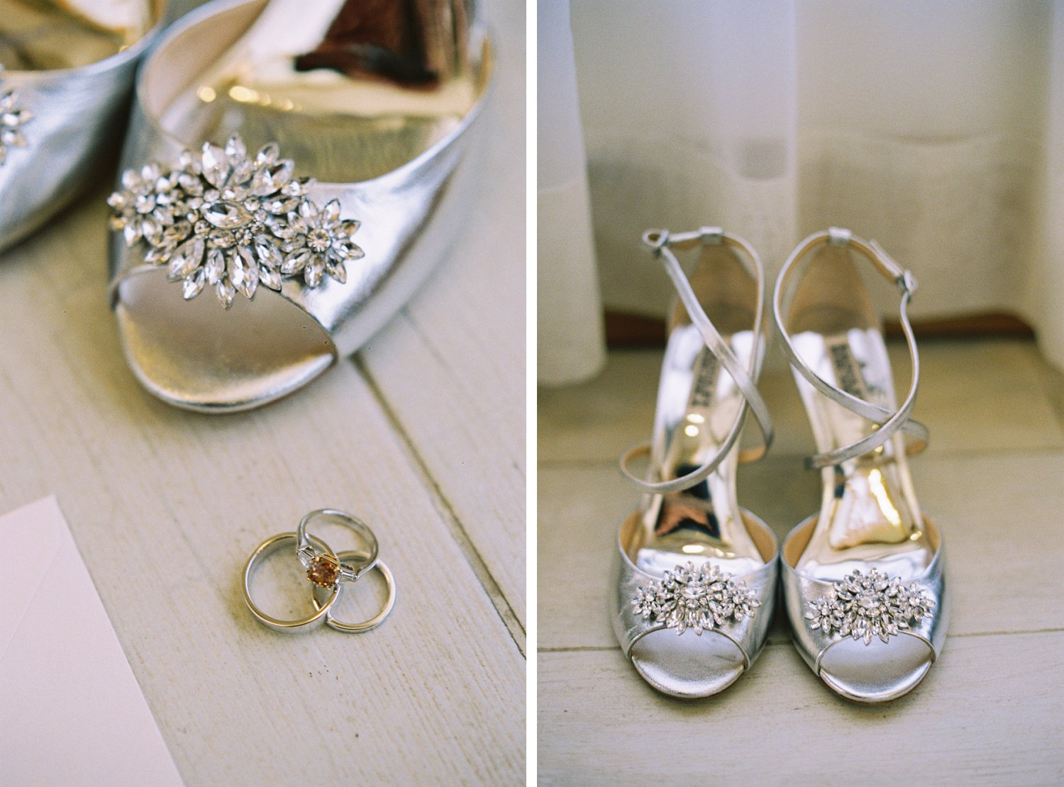Bride's rings and Badgley Mischka shoes
