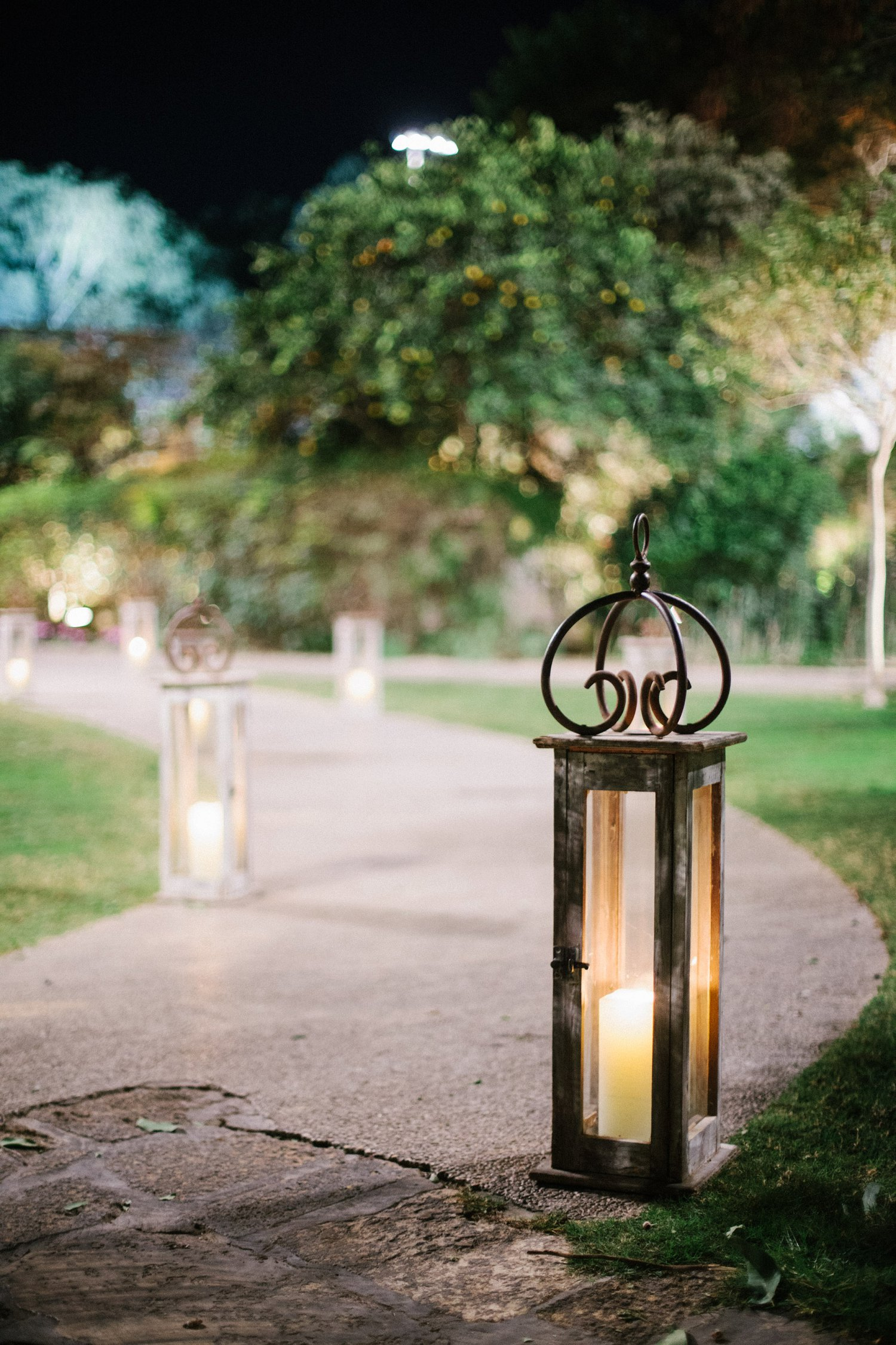 Candle lined pathway at Baya'ar