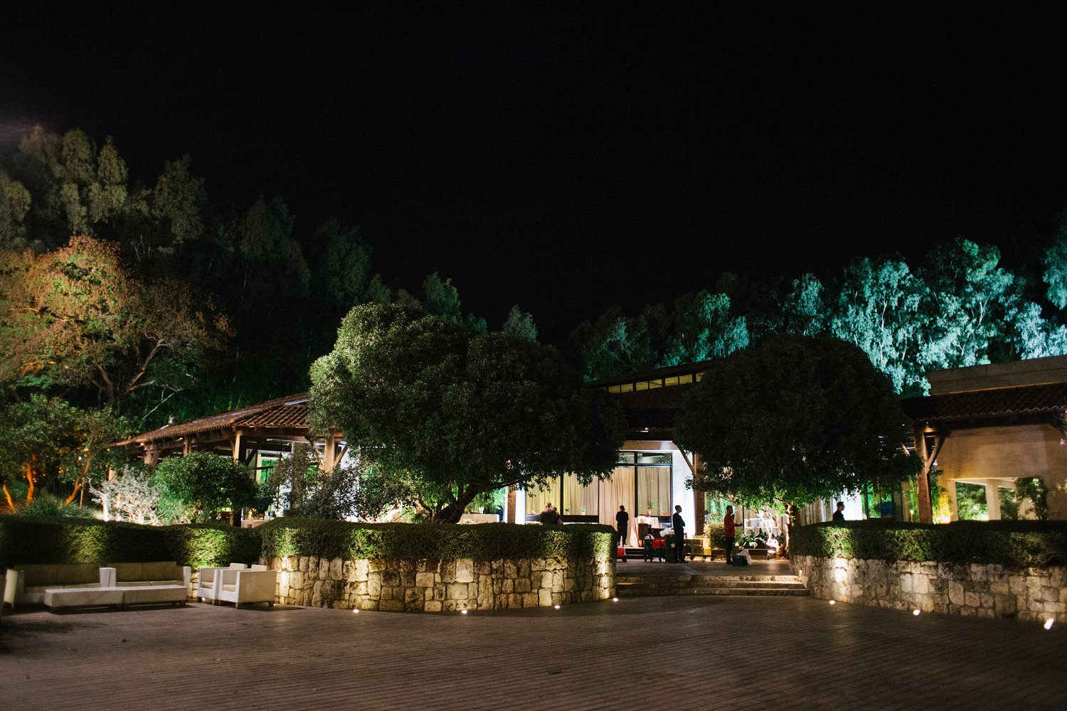 Outside of Baya'ar wedding venue at night