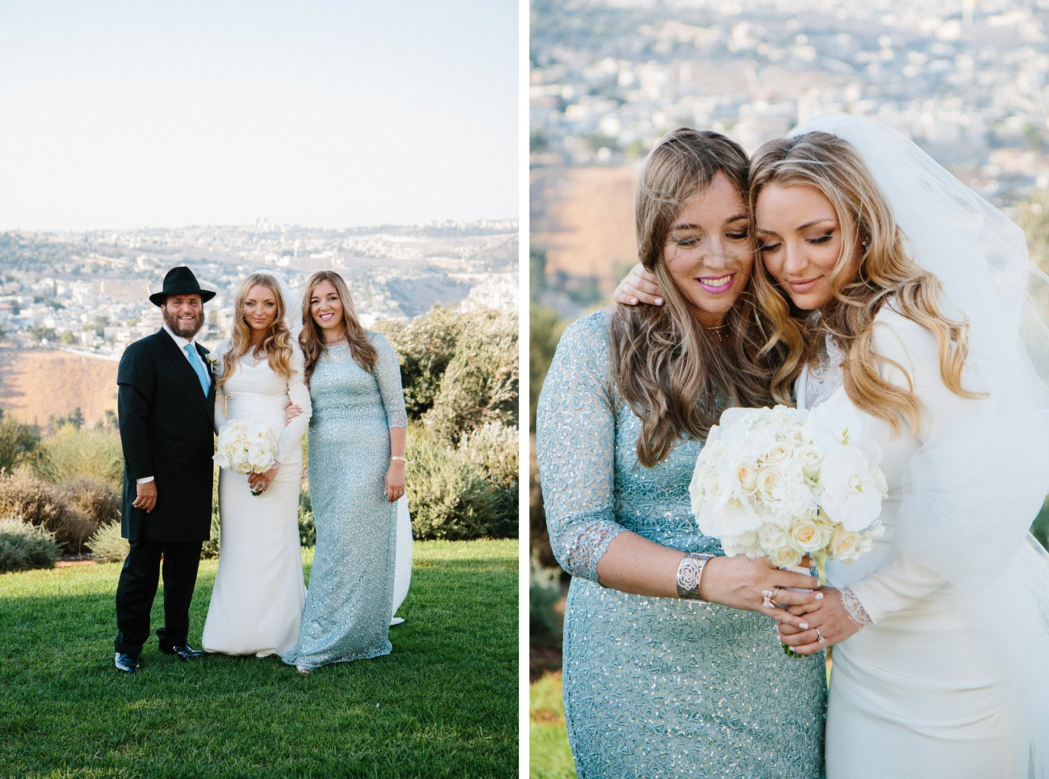 portrait of bride and her parents with Jerusalem in the background, and close up of bride with her mother