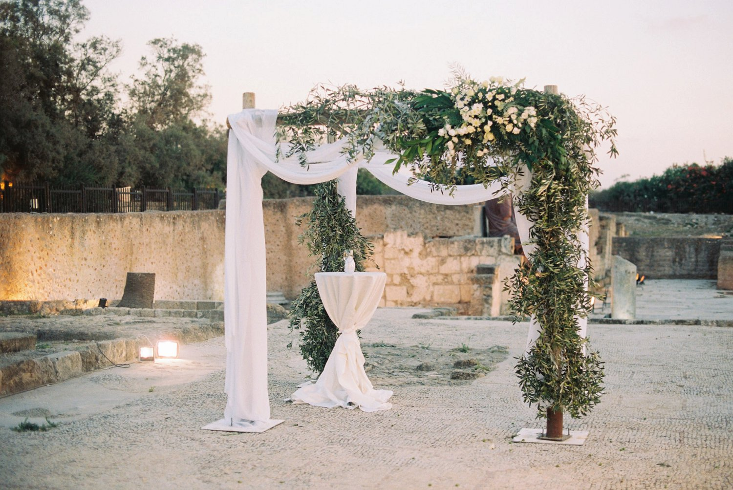 Chuppah on ancient Roman street at Caesarea Cellars wedding