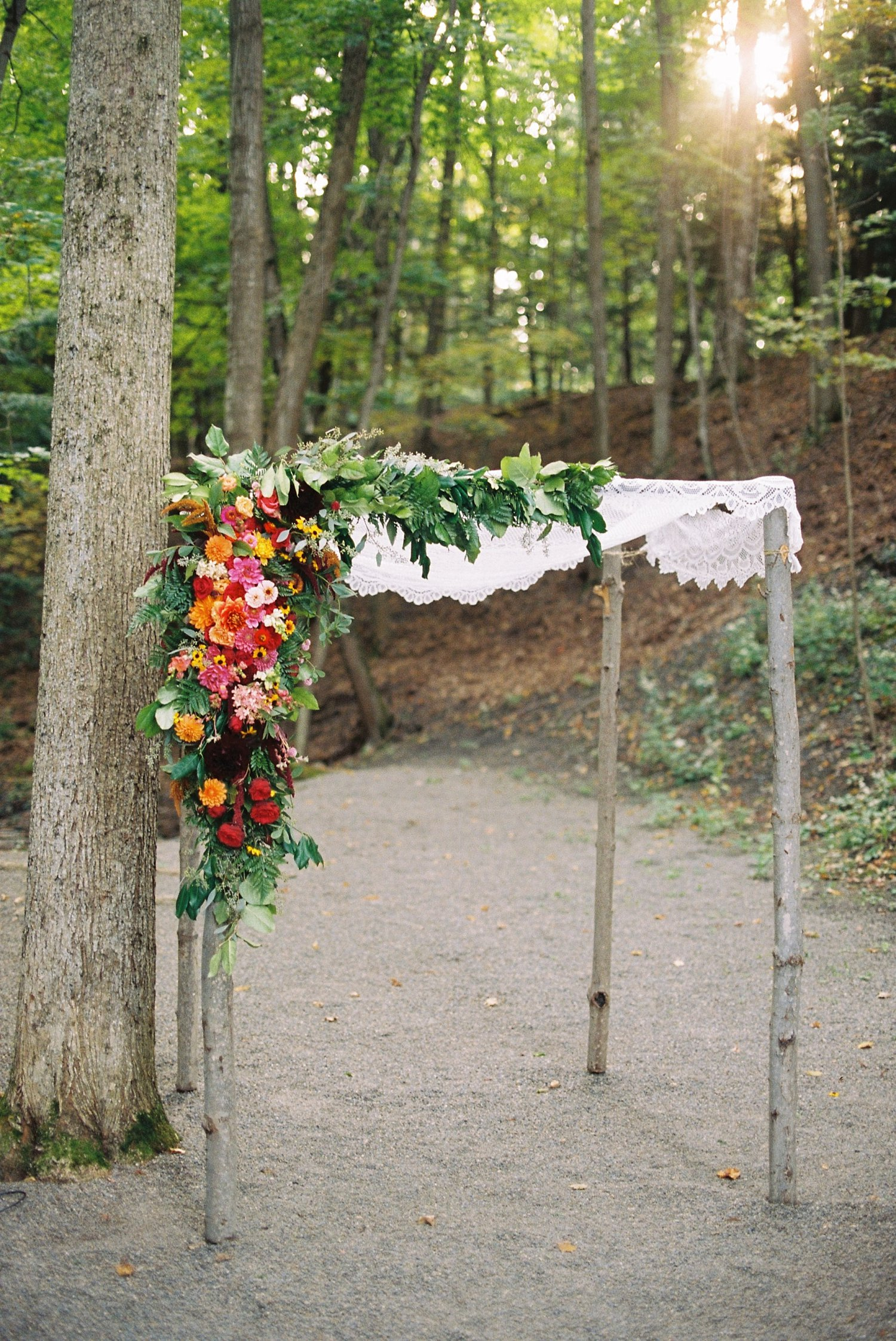 Chuppah designed by Plenty of Posies - New Park Retreat Ithaca Wedding